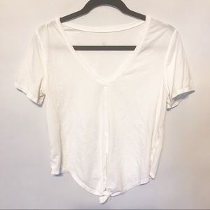 Lululemon   Tie front Cropped Tee size 2 white